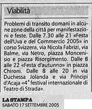 via fabrizi festa dell'uva 2005 viabilità