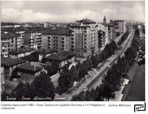 Corso Tassoni 1960 con il giardino Roccioso e il V Padiglione in costruzione