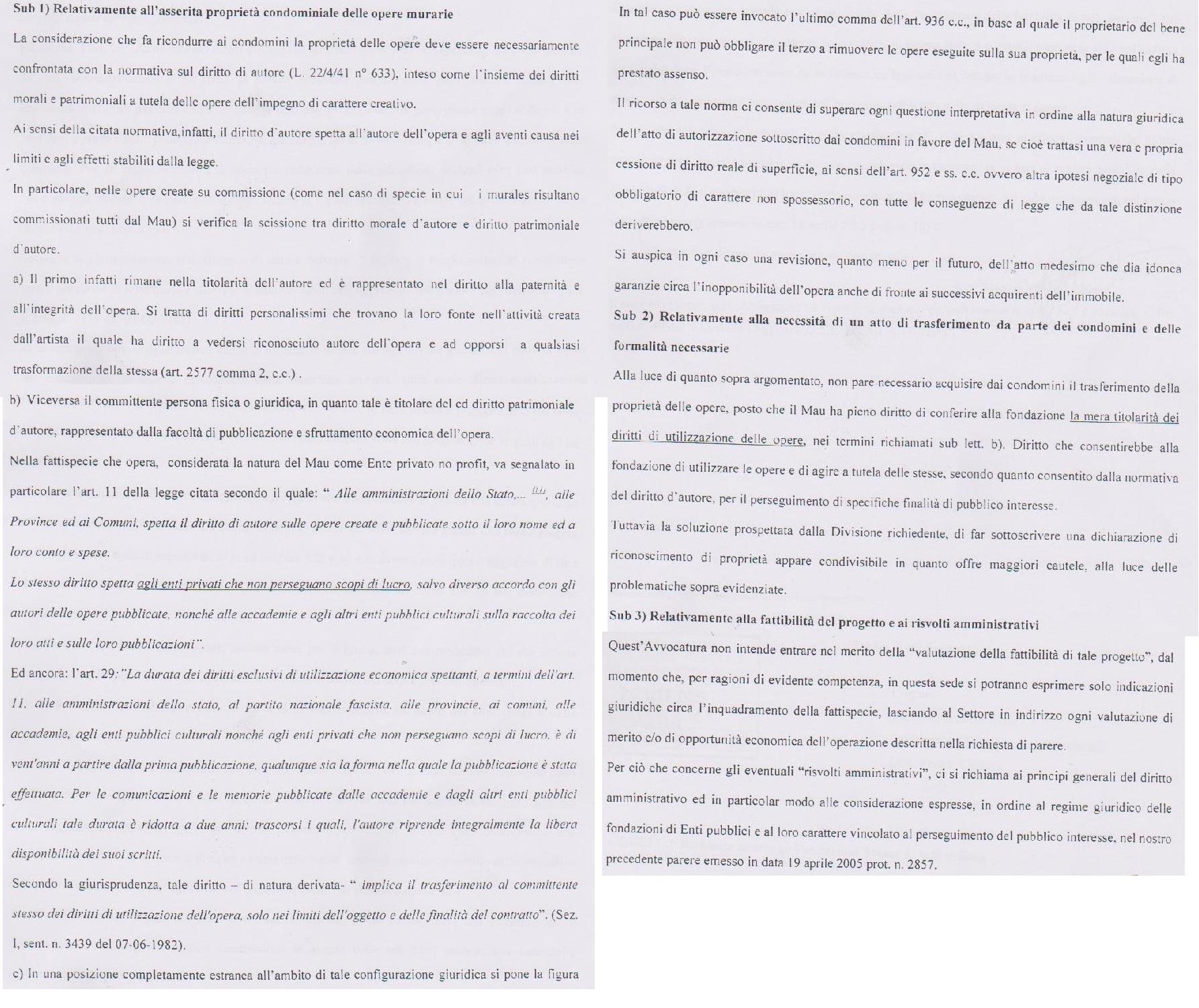 parere avvocatura comune su MAU 2005