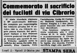 partigiani fucilati in via cibrario 1944 Stampa Sera 1964