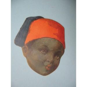 CIOCCOLATO DAVIT Calendarietto Sagomato per il 1925, a forma di testa di Ascaro.