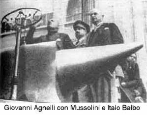 """Mussolini in visita a Torino, fa un bel regalo all' Agnelli in previsione del lancio il prossimo anno della Balilla. Vara una legge straordinaria la quale, impedisce lo smercio di macchine non costruite integralmente in Italia. Lui dice che l'auto sono tra le """"attività interessanti la difesa nazionale"""". Ma è un bel regalo!! Nel dopoguerra i governanti della Nuova Repubblica """"liberale e liberista"""" lo imiteranno."""