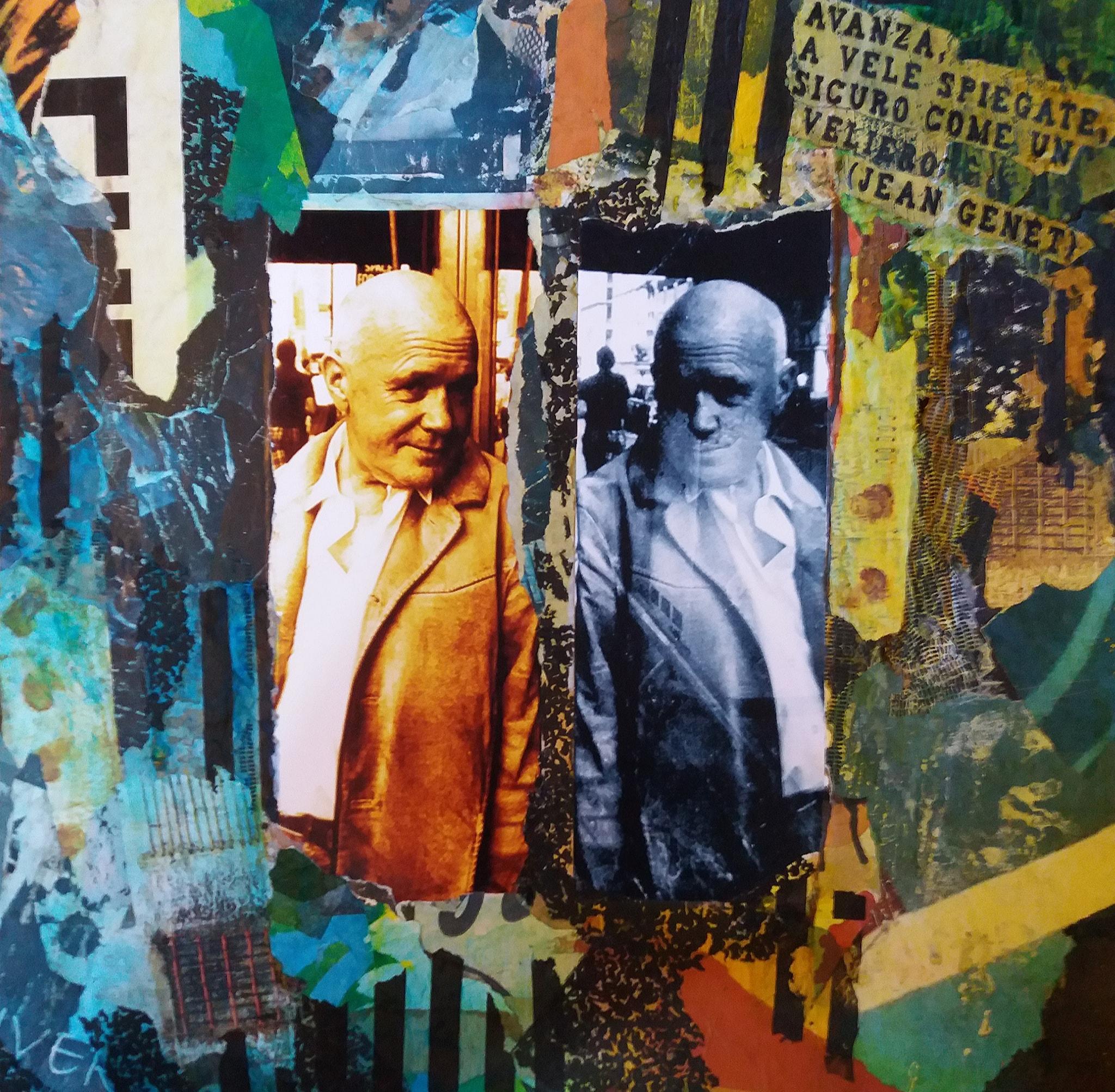 Antonio Minerba Jean Genet 2019 Fotografia,xerografia e acquarello su legno